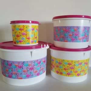 NEW TUPPERWARE FLAMINGO CANISTER SET